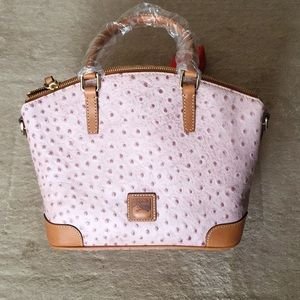 DOONEY PINK OSTRICH LEATHER SATCHEL